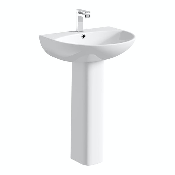 Derwent Round Close Coupled Toilet and Full Pedestal Basin