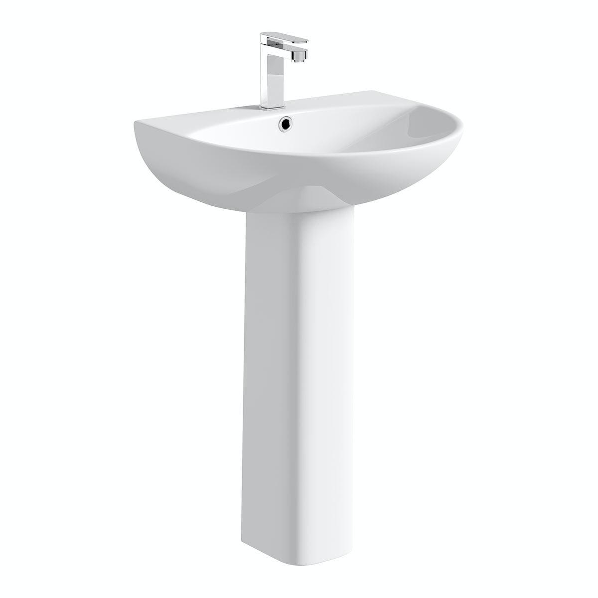 Orchard Derwent round 1 tap hole full pedestal basin 550mm