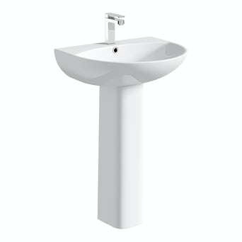 Compact Round Basin and Full Pedestal