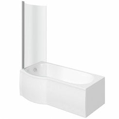 Evesham left handed P shaped shower bath 1500mm with 6mm shower screen