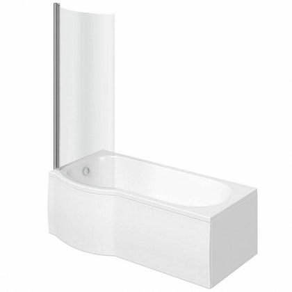 Orchard P shaped left handed shower bath 1500mm with 6mm shower screen