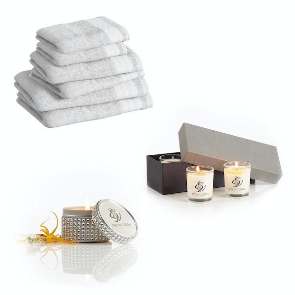 Supreme snow white towel bale with diamante tin and gift box