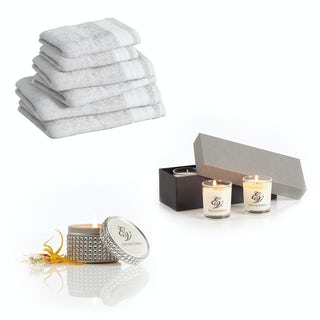 Supreme snow white towel bale with diamante tin and gift box