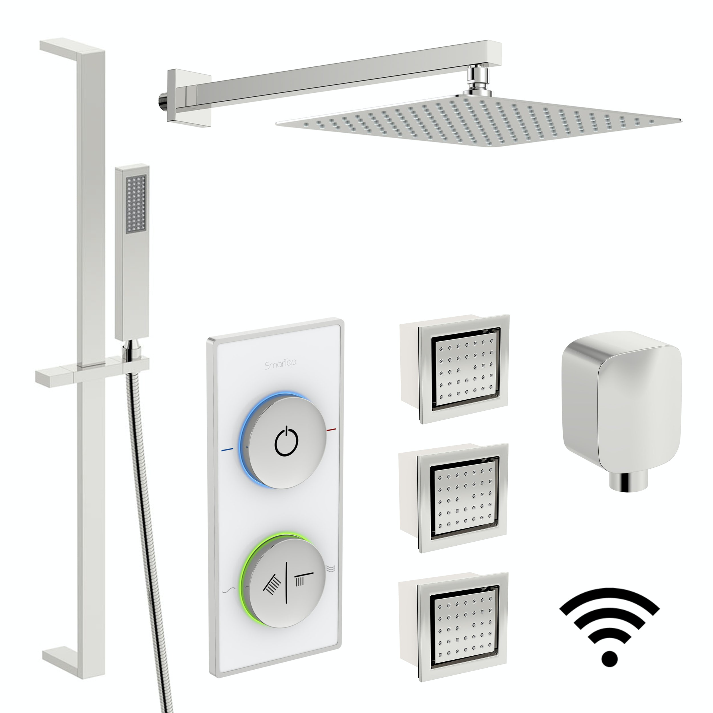 SmarTap white smart shower system with complete square wall shower set