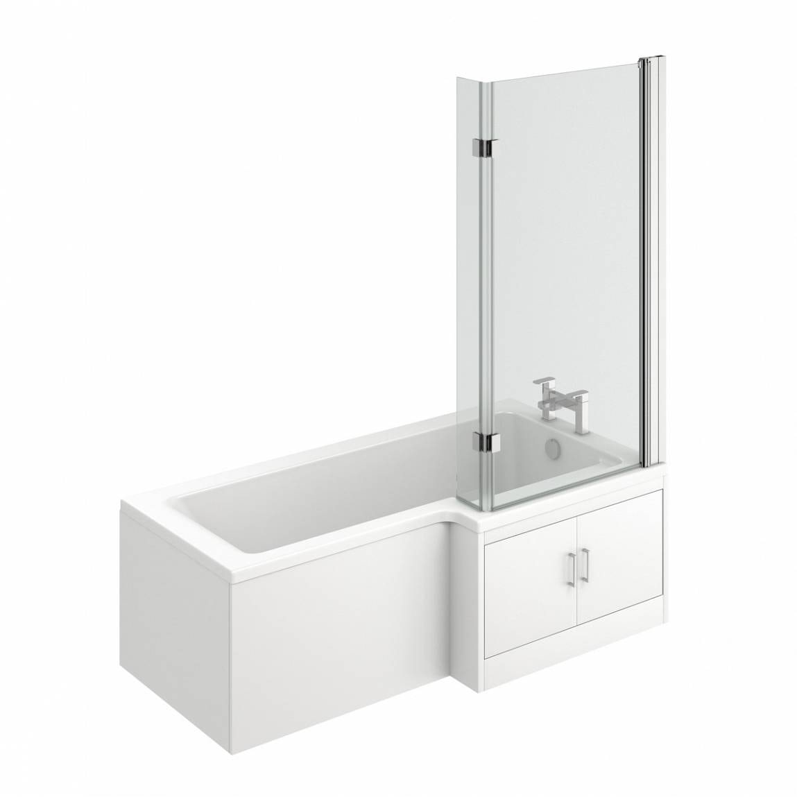 MySpace Water Saving L Shape Shower Bath Right Hand with Storage Panel & 8mm Luxury Hinged Screen
