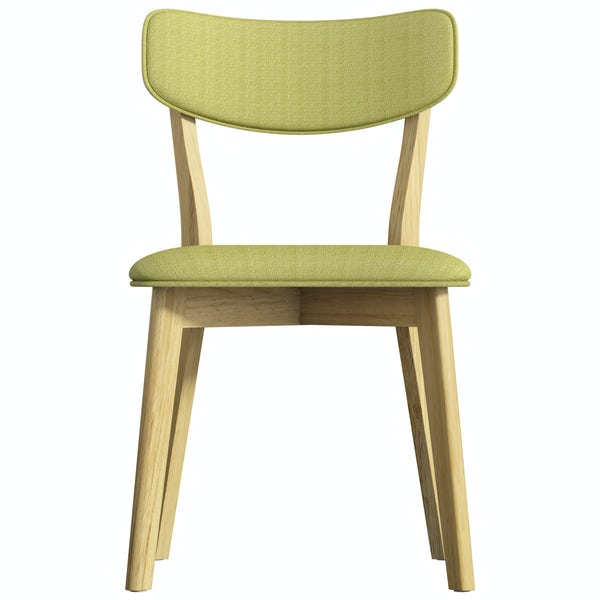 Harrison Oak and Green Pair of Dining Chairs