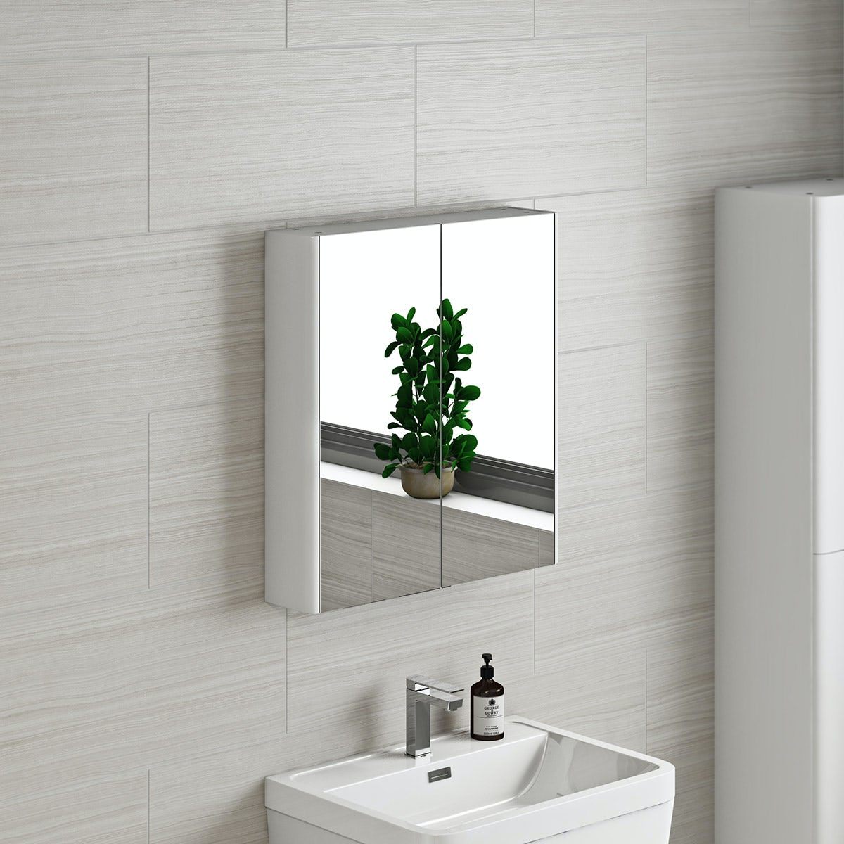 Mode white curved mirror cabinet 600mm