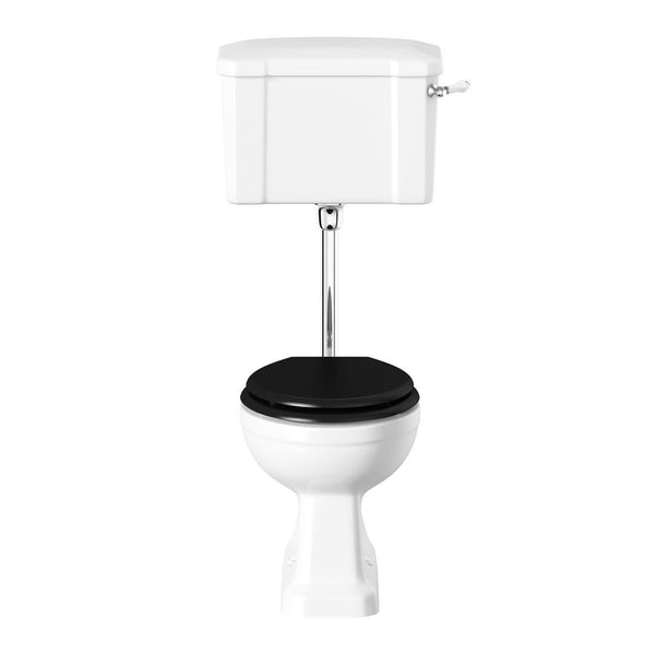 The Bath Co. Camberley low level toilet with wooden soft close seat black