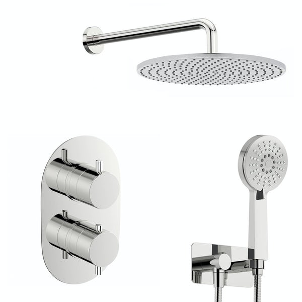 Spa Round Thermostatic Twin Shower Valve with Diverter and Slider Rail Set