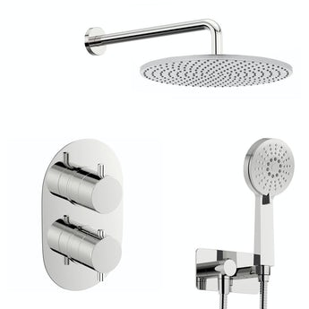 Mode Spa round thermostatic twin shower valve with diverter and wall shower outlet set