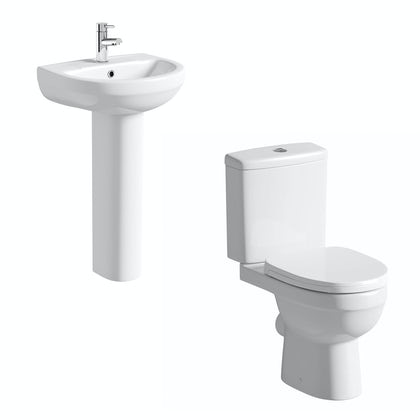 Eden close coupled toilet suite with full pedestal basin 550mm