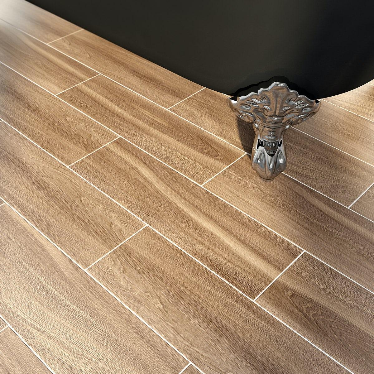 Bark coffee wood effect brown matt tile 148mm x 498mm
