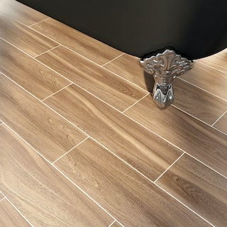Bark coffee wood effect tile 148mm x 498mm
