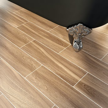 Bark coffee wood effect brown matt tile 148mm x 498mm