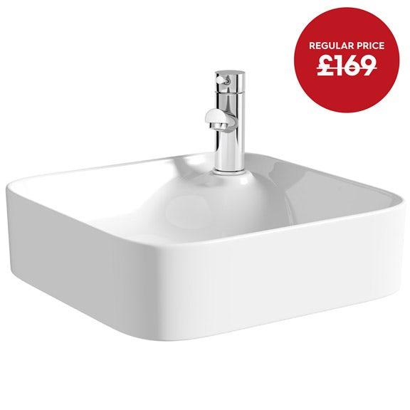 Mode Hughes square thin edge 1 tap hole basin 430mm