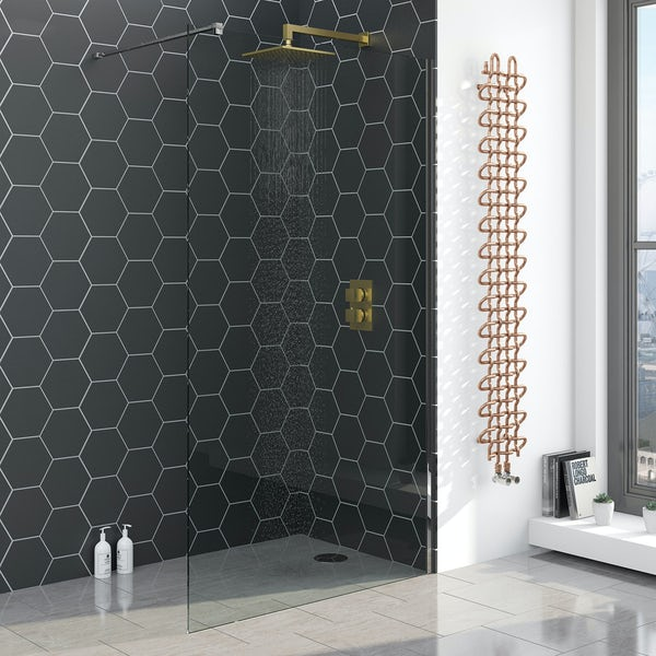 Mode Cubik thermostatic twin valve brushed gold shower set