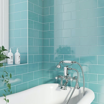 British Ceramic Tile Metro flat powder blue gloss tile 100mm x 200mm