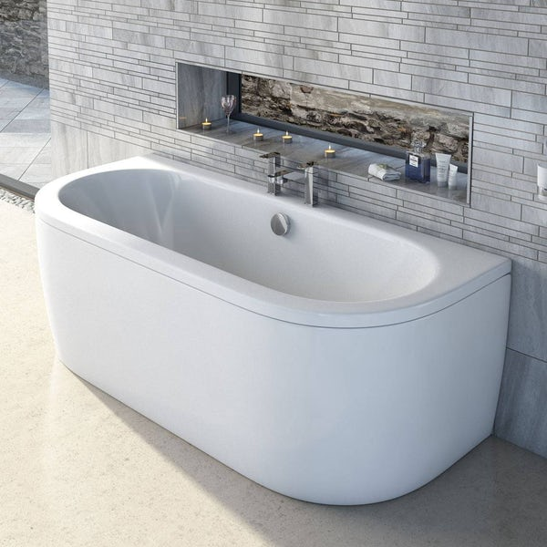 Cayman D shaped double ended back to wall bath 1700 x 750 with panel