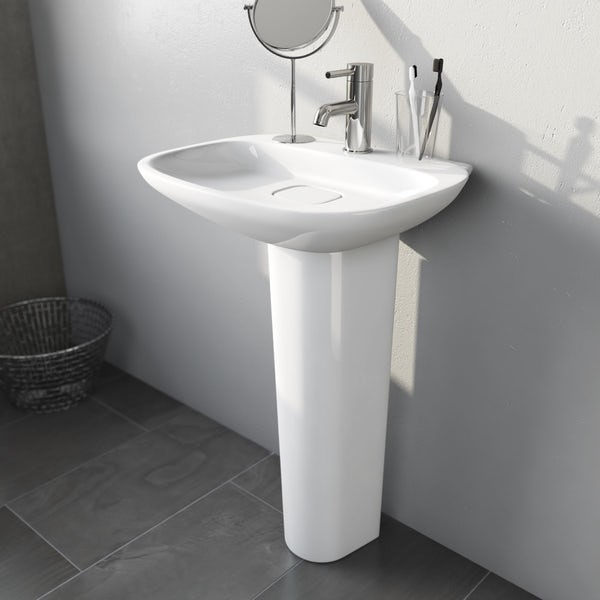 Heath 1TH 500mm Basin and Full Pedestal