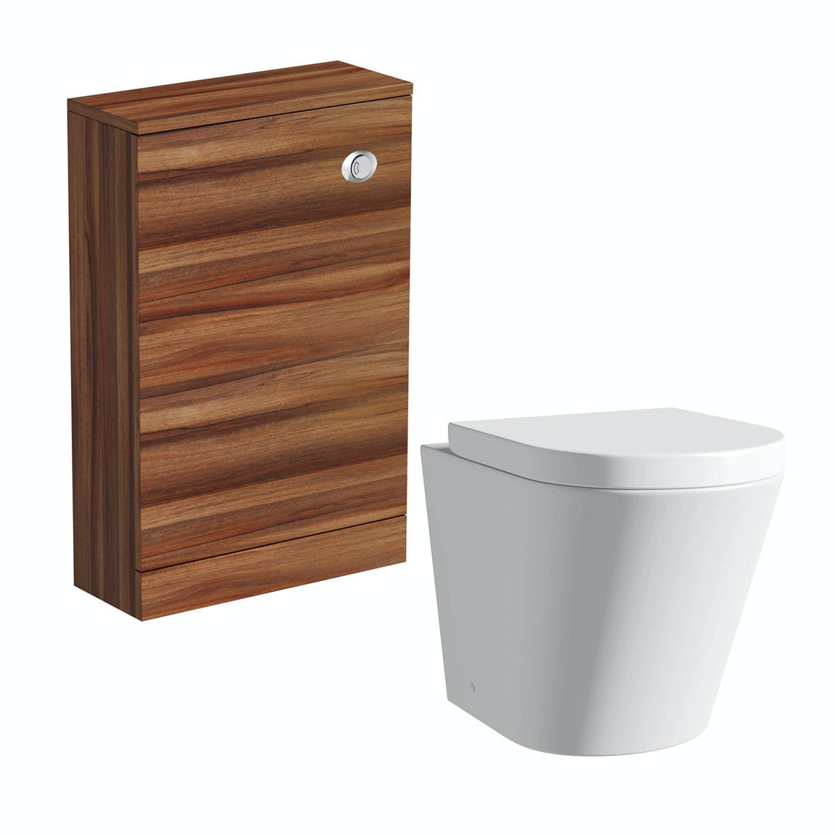 Clarity walnut back to wall toilet unit with  contemporary toilet and seat