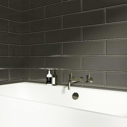 V&A Maxi Metro webb grey gloss tile 148mm x 498mm