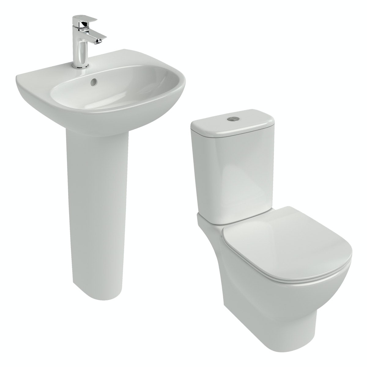 Ideal Standard Tesi cloakroom suite with full pedestal basin 450mm