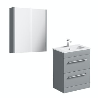 Orchard Derwent stone grey vanity drawer unit and mirror 600mm
