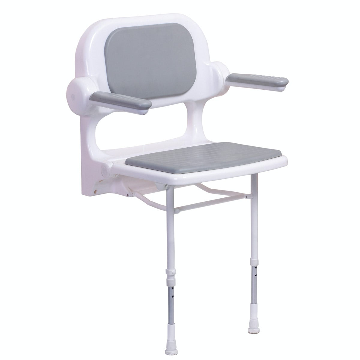 AKW 2000 series folding shower seat with back and arms and grey pad