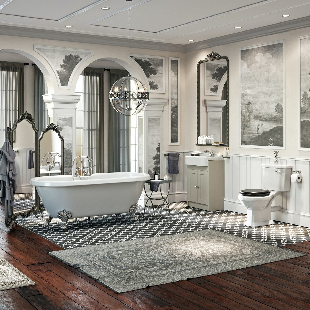 The Bath Co. Dulwich complete bathroom suite with freestanding bath, shower and taps