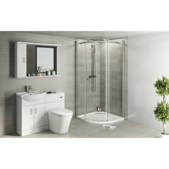 Eden white suite with 8mm Infiniti quadrant shower enclosure and tray
