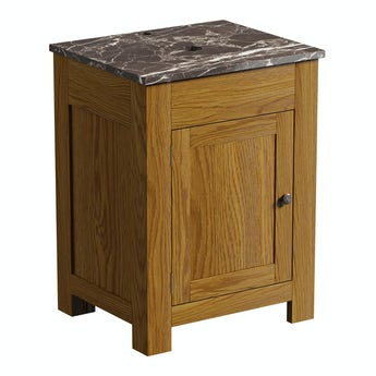 The Bath Co. Chester oak washstand 600mm with brown marble top
