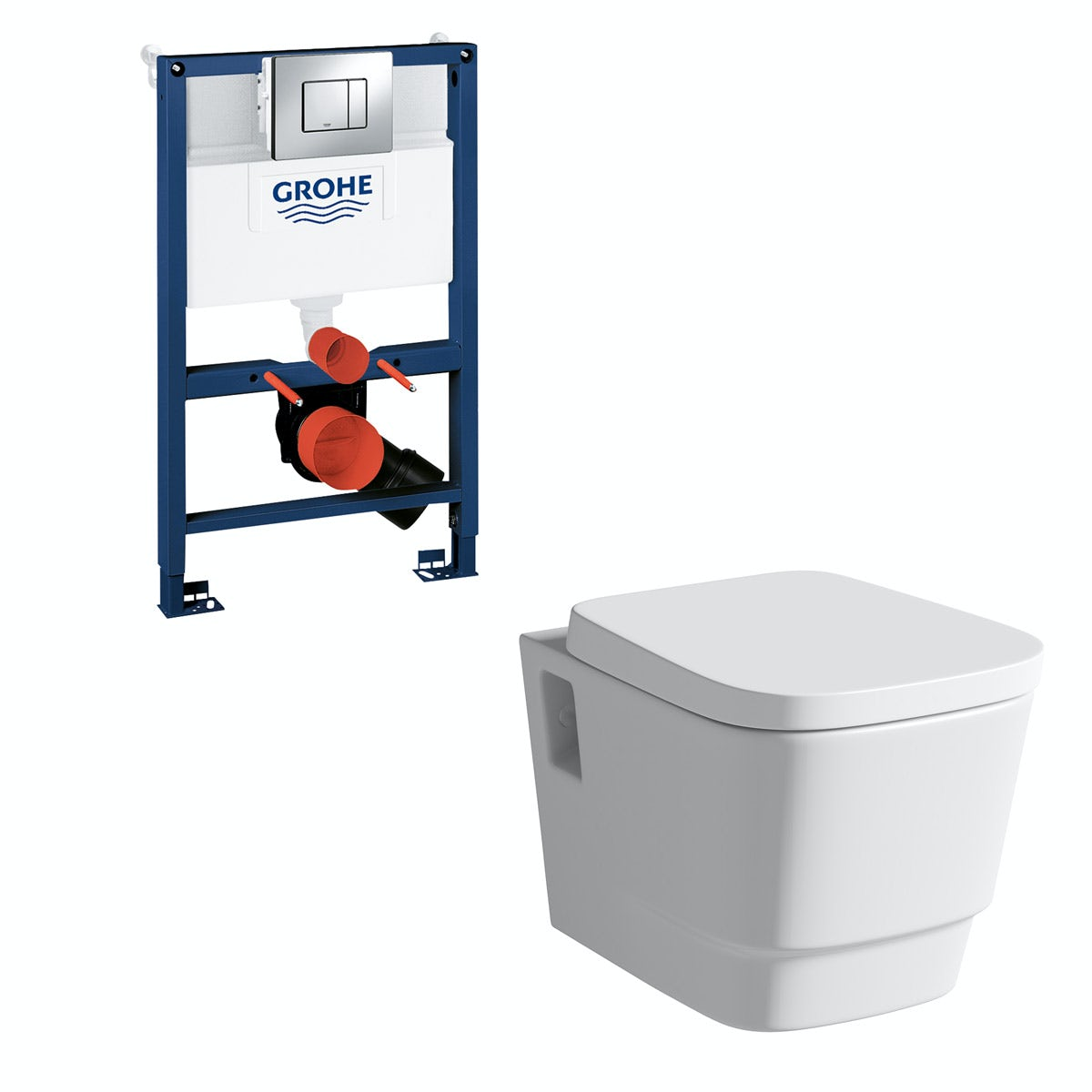 Mode Foster wall hung toilet, Grohe frame and Skate Cosmopolitan push plate 0.82m