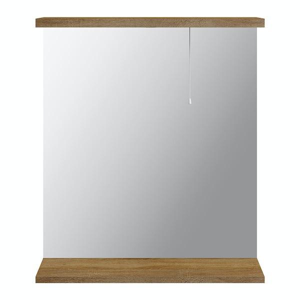 Sienna Oak 650 Mirror with lights