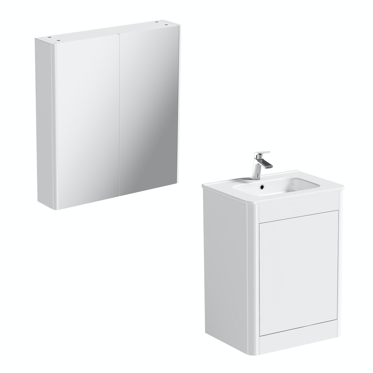 Mode Carter ice white vanity unit 600mm and mirror