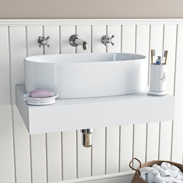 The Bath Co. Camberley wall mounted basin mixer tap