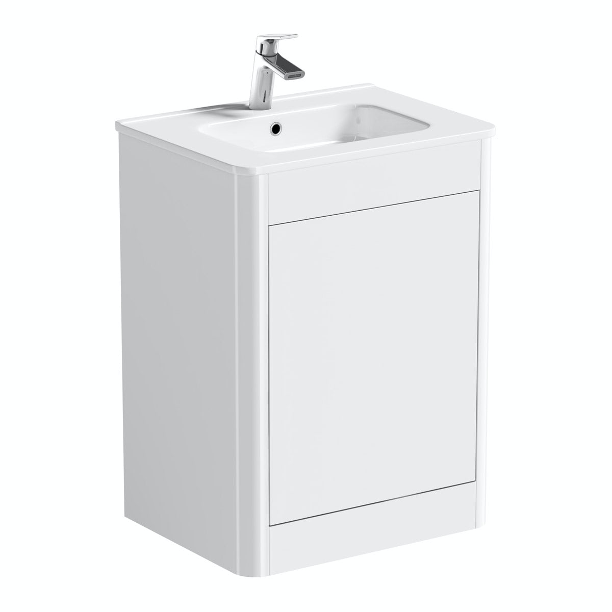 Mode Carter ice white floor mounted vanity unit and basin 600mm