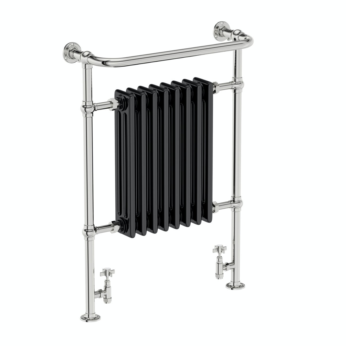 The Bath Co. Dulwich black traditional heated towel rail 952 x 659 offer pack