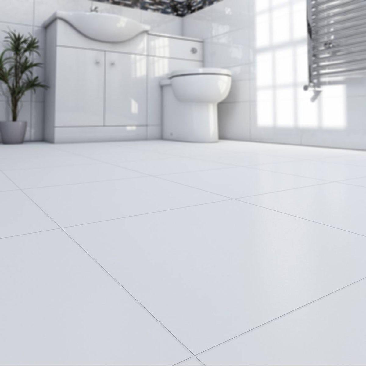 Oria matte super white ceramic floor tile 33cm x 33cm - White ceramic wall tiles bathroom ...
