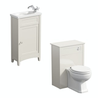 The Bath Co. Camberley satin ivory cloakroom furniture suite