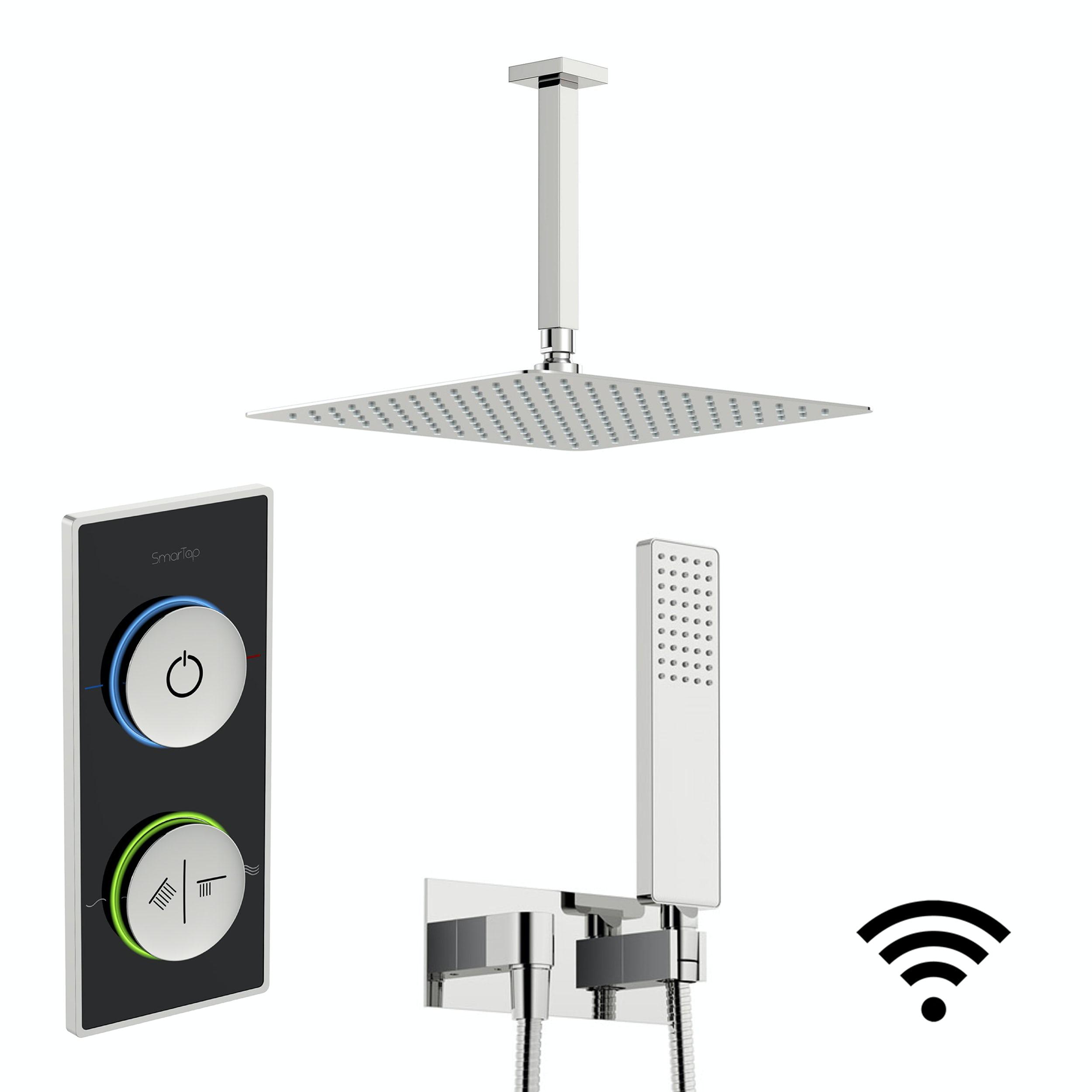 SmarTap black smart shower system with square wall outlet set
