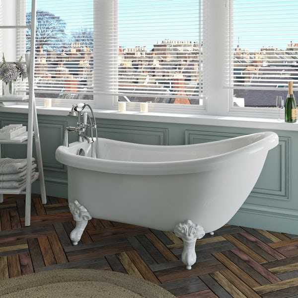 The Bath Co.Winchesterroll top bath with white ball and claw feet offer pack