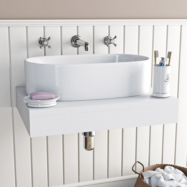 The Bath Co. Camberley wall mounted basin mixer tap offer pack