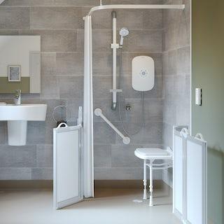 AKW L shaped shower curtain rail 1000 x 1000