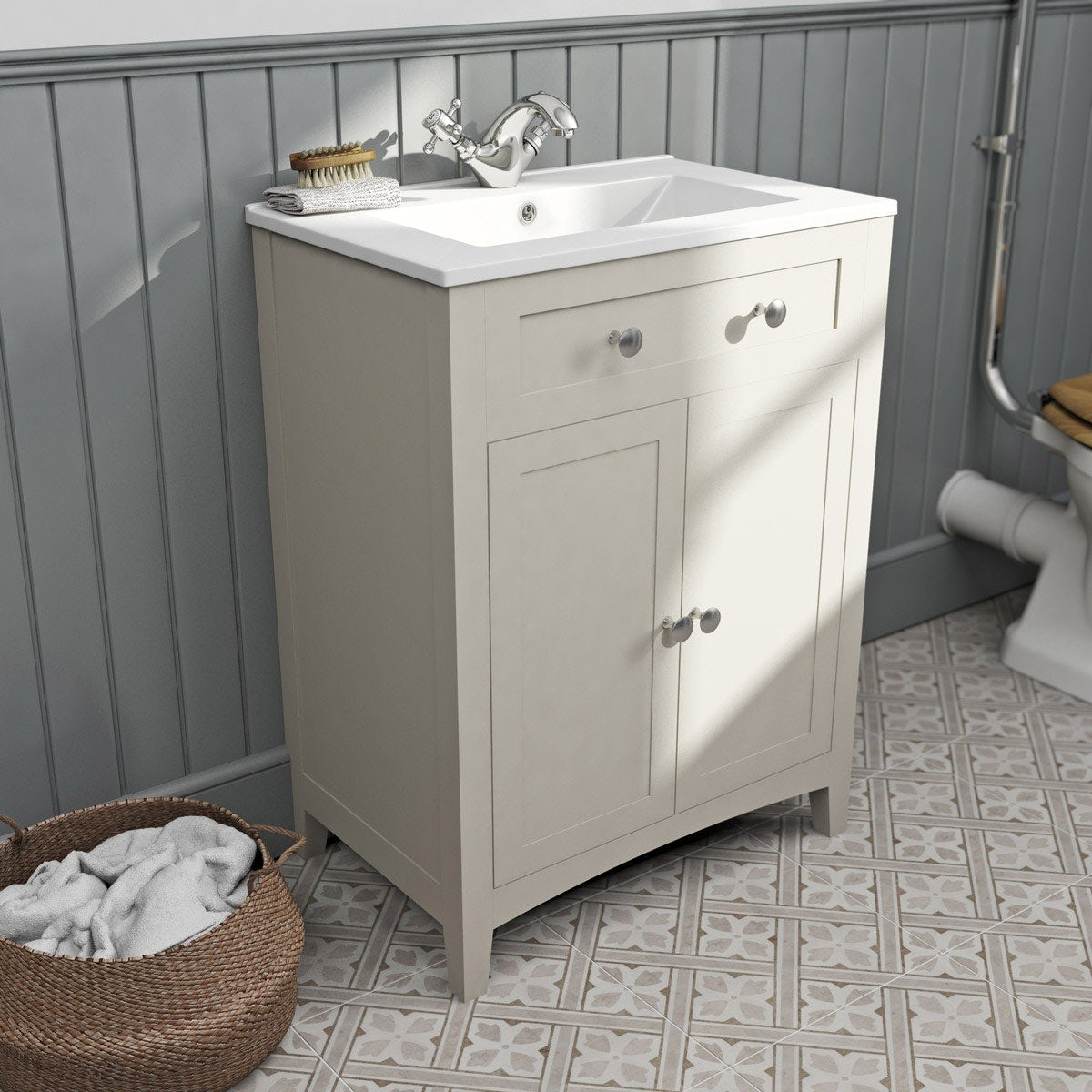 Ivory bathroom suite - The Bath Co Camberley Ivory Low Level Furniture Suite With Straight Bath 1700 X 700mm