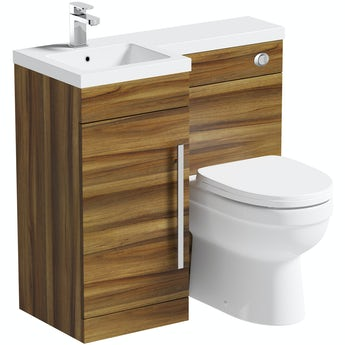 Orchard MySpace walnut left handed unit with Eden back to wall toilet