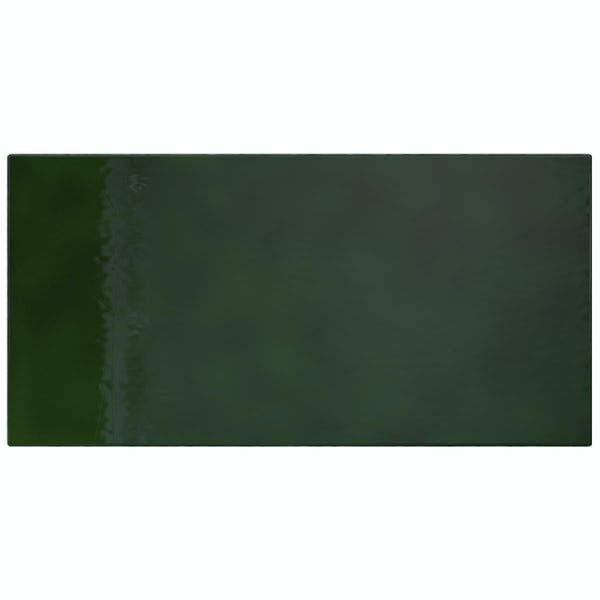 V&A puddle glaze racing green plain field tile 152mm x 76mm