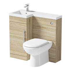 MySpace oak left handed unit with Autograph back to wall toilet