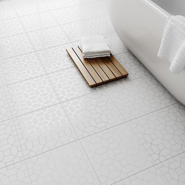Laura Ashley Marise white floor tile 331mm x 331mm