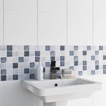 Mosaic pebble grey gloss tile 302mm x 302mm - 1 sheet
