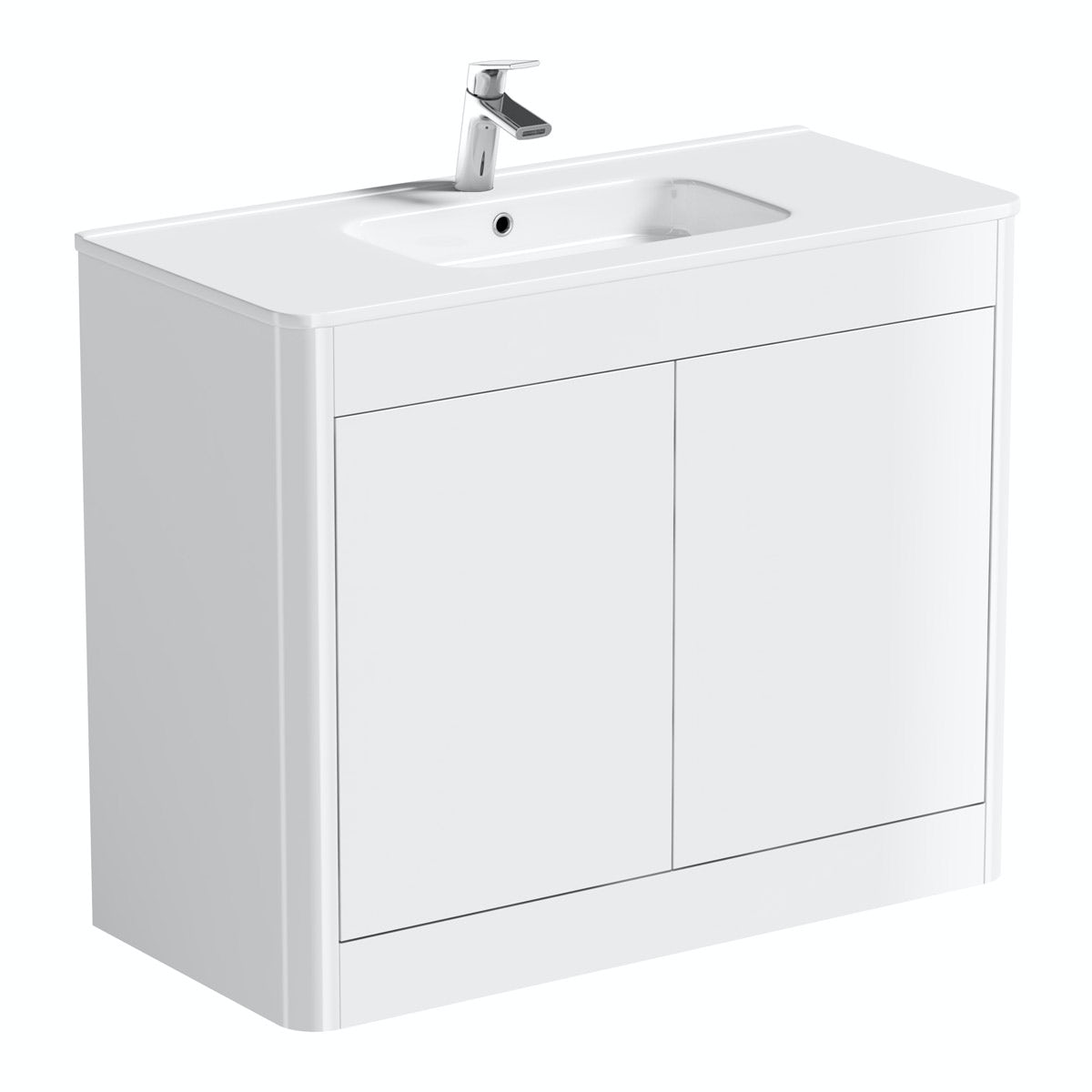 Mode Carter ice white floor mounted vanity unit and basin 1000mm